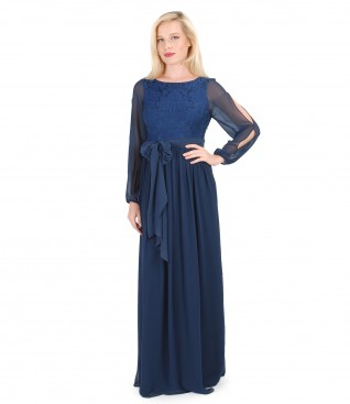 Long evening dress with elastic brocade and veil scarf