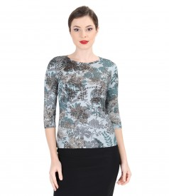 Printed elastic jersey blouse with angora