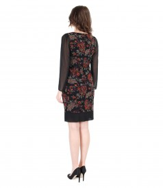 Elegant brocade dress with velvet and veil