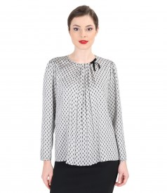 Printed viscose blouse with folds