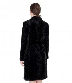 Fur coat with shawl collar