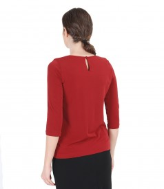 Jersey blouse with folds
