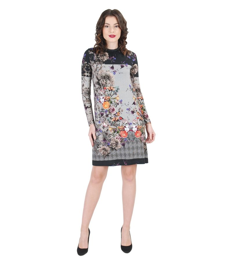 Elastic jersey printed dress with folds