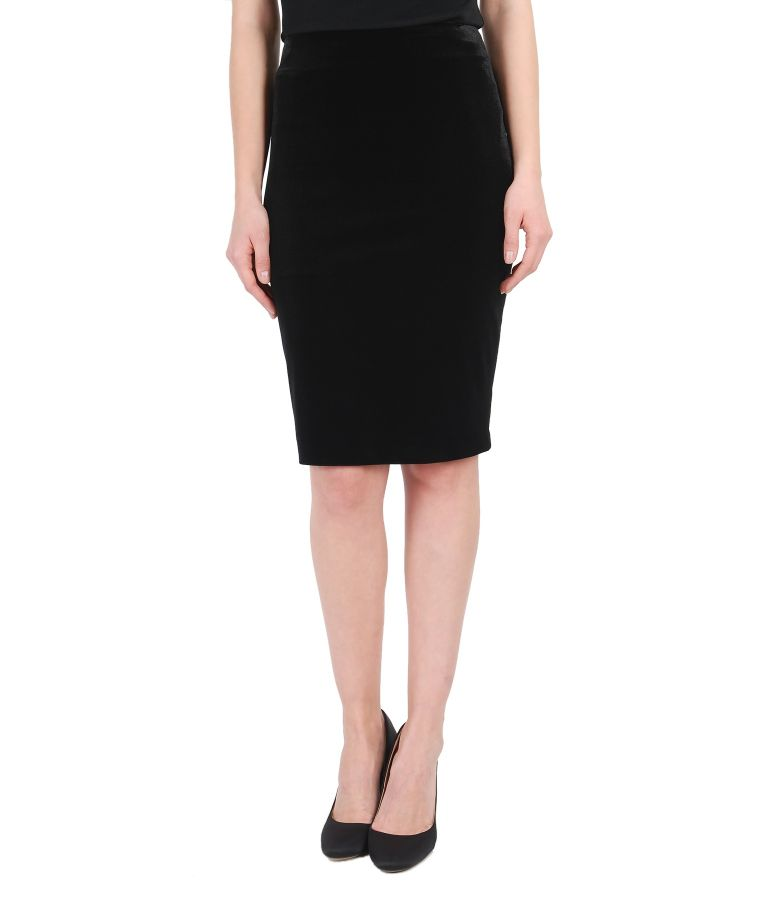 Black stretch velvet elegant skirt