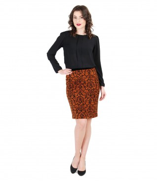 Veil folds blouse and elegant velvet skirt