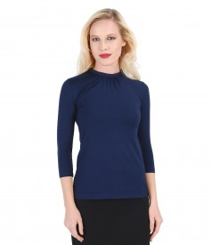 Elastic jerse blouse with folds