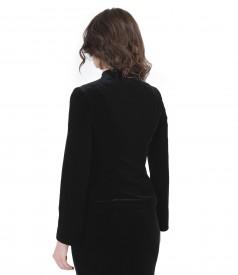 Elegant elastic velvet jacket with crystals inserts
