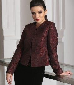 Elegant satin brocade jacket with wool