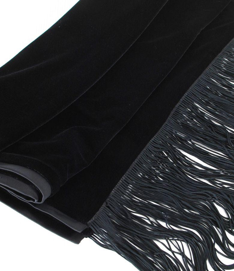 Elastic velvet scarf with saten trim and  fringe