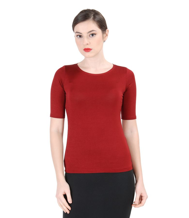 Satined elastic jersey with short sleeves