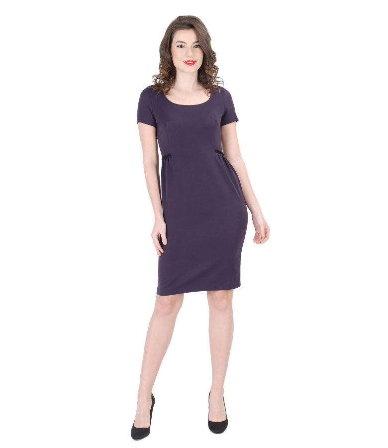 Elegant elastic fabric dress with folds and trimmings
