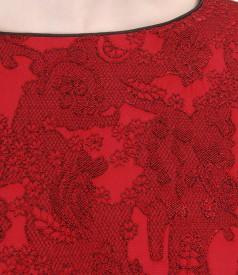 Elastic printed brocade dress