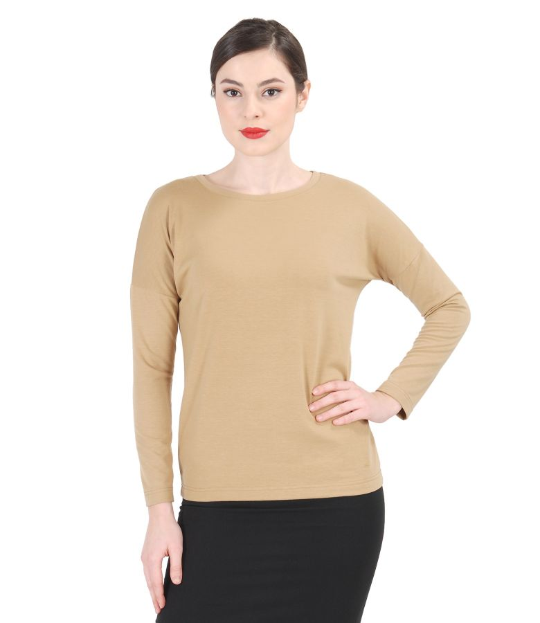 Elastic jerse blouse with long sleeves