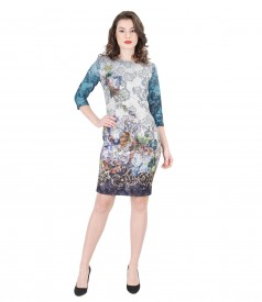 Multi-color elastic brocade dress with metallic thread