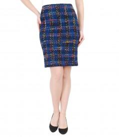 Elegant multicolored woolen loops skirt