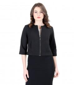 Elastic brocade jacket with geometric design
