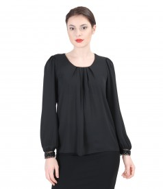 Veil blouse with folds and trim