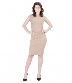 Thick elastic jersey dress with folds