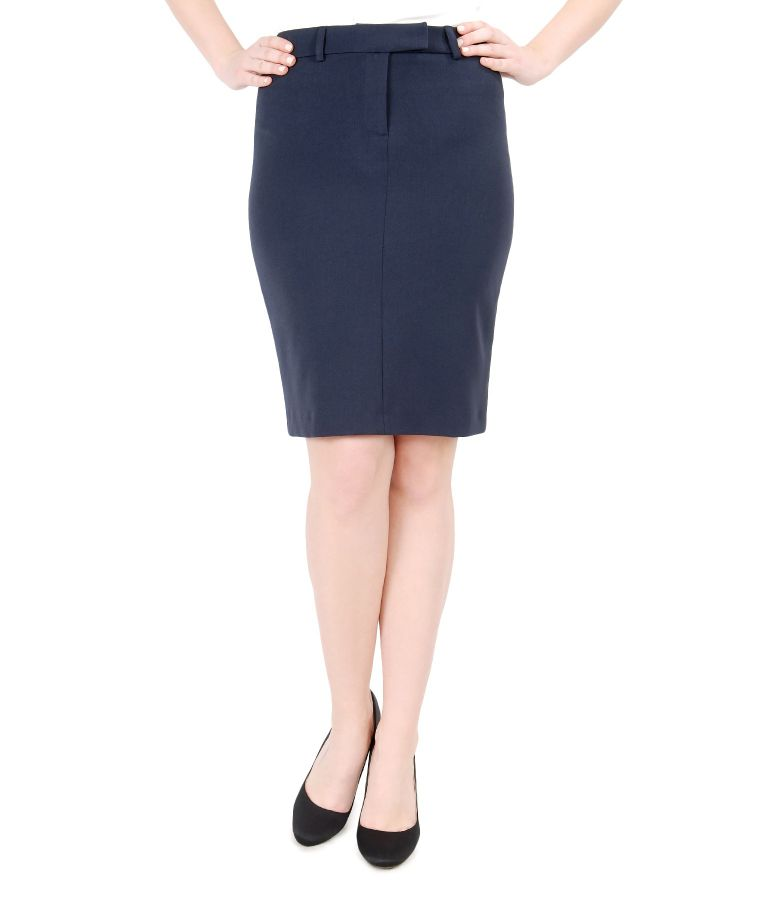 Elastic fabric office skirt with belt
