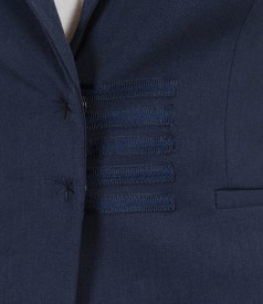 Elastic fabric office jacket with trim