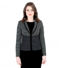 Elegant jacket with white lace corner and velvet trim