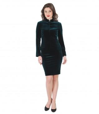 Elastic velvet elegant women suit with crystals inserts
