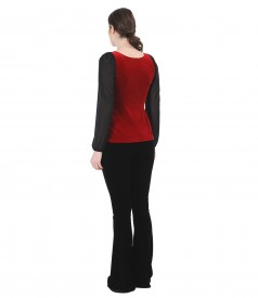 Elegant outfit with blouse and elastic velvet flared pants