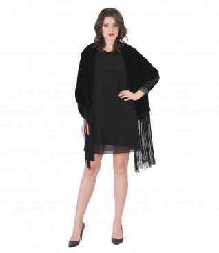 Veil short evening dress with fringe velvet scarf