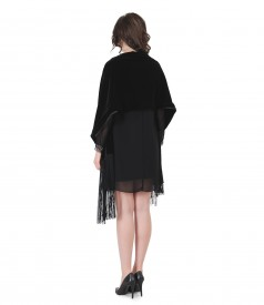 Veil short evening dress with fringe velvet scarf
