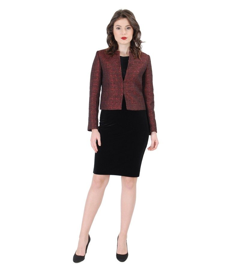 Elegant women outfit with satin brocade jacket