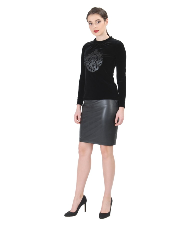 Elastic velvet blouse with inserts and ecological leather skirt