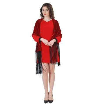 Veil evening short dress with fringe velvet shawl