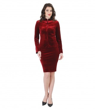 Elastic velvet elegant women outfit with crystals inserts
