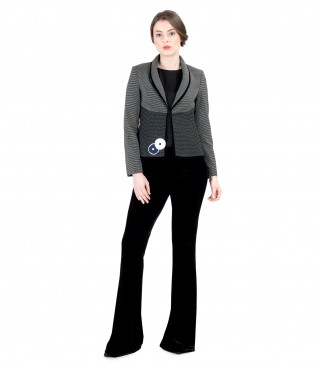 Elegant women outfit with flared pants and jacket with lace corner