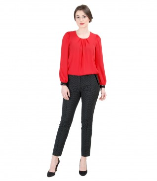 Veil blouse with folds and trim with tapered trousers with lace corner