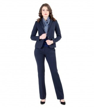 Elastic fabric office women suit with trim