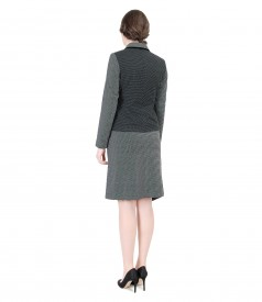 Office women suit with jacket and skirt with asymmetrical lace corner