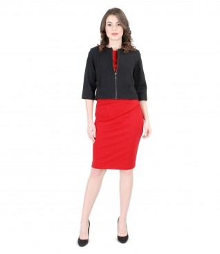 Brocade jacket with thick elastic jersey dress with folds