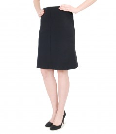 Thick elastic jersey flared skirt