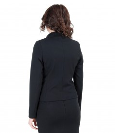 Thick elastic jersey jacket with pockets