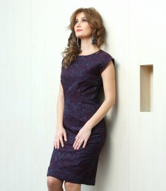 Short brocade evening dress with crystals