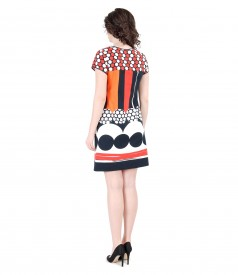 Flaring elastic cotton dress with pockets