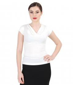 Elastic jersey t-shirt with folds