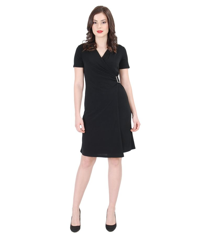 Black jersey dress with clasp