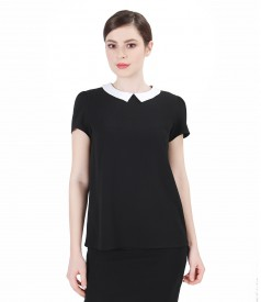 Black crepe veil blouse with collar