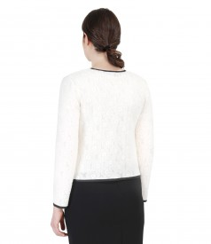 Elastic lace with wool blouse