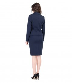 Navy elastic jersey office women suit