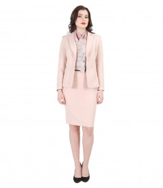 Women office suit with organic leather trim