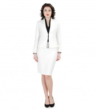 Elegant women suit with cream jacket