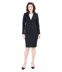 Black elastic jersey office women suit